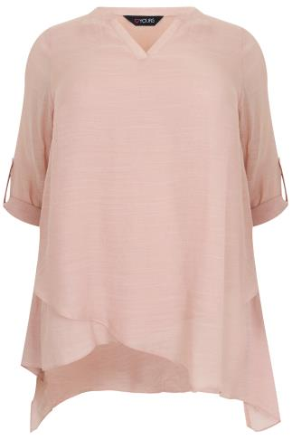 Blush Pink Notch Neck Silky Layer Blouse