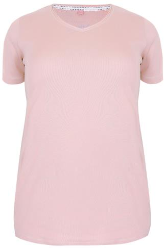 Blush Pink Short Sleeved V-Neck Basic T-Shirt