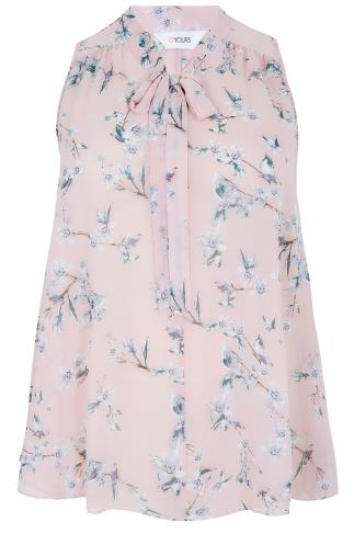 Blush Pink Sleeveless Bird Print Blouse With Pussy Bow Tie