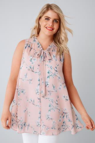 Blush Pink Sleeveless Bird Print Blouse With Pussy Bow Tie 130118