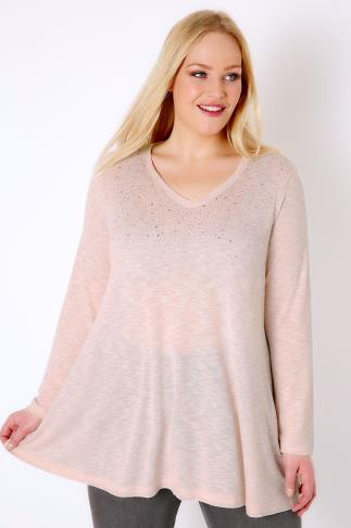 Blush Pink Stud Embellished Fine Knit Swing Top