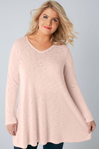 Day Blush Pink Stud Embellished Fine Knit Swing Top 132147