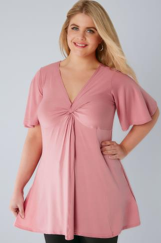 Blush Pink Twist Front Top With Angel Sleeves 156205