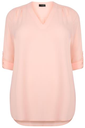 Blush Pink V-Neck Blouse With Roll Up Sleeves & Pocket Detail