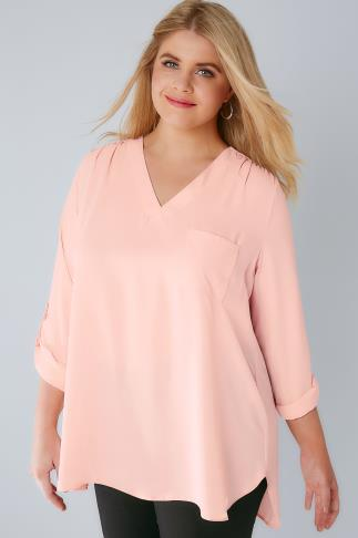 Blush Pink V-Neck Blouse With Roll Up Sleeves & Pocket Detail 156109