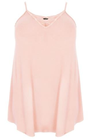 Blush Pink V-Neck Longline Cami Vest Top With Cross Front Detail 132274