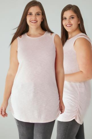 Knitted Tops Blush Pink & White Knitted Sleeveless Top With Cut Out Neck Detail & Ruched Sides 132243