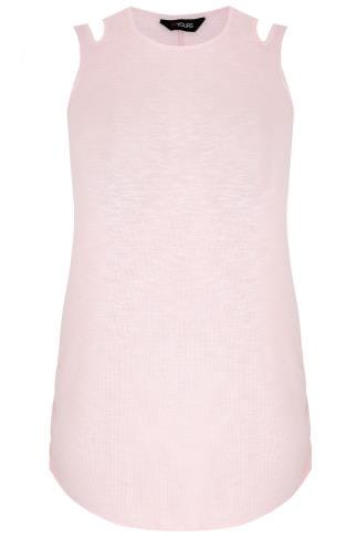 Blush Pink & White Knitted Sleeveless Top With Cut Out Neck Detail & Ruched Sides