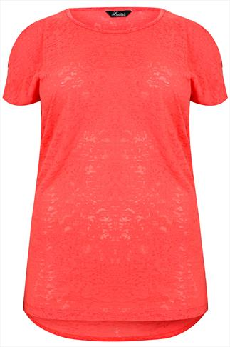 Bright Coral Burnout Top With Cold Shoulder Detail & Dipped Hem