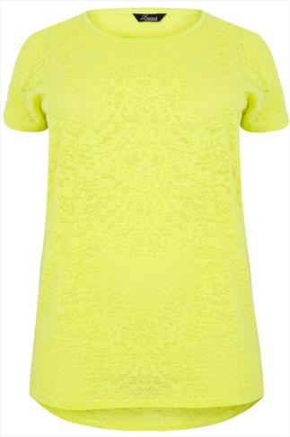 Bright Lime Burnout Top With Cold Shoulder Detail & Dipped Hem