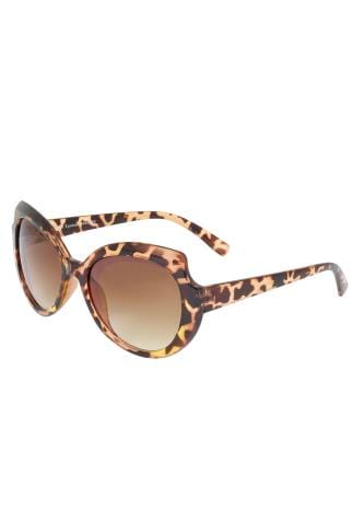 Sunglasses Brown Animal Print Rounded Sunglasses With UV 400 Protection 152265