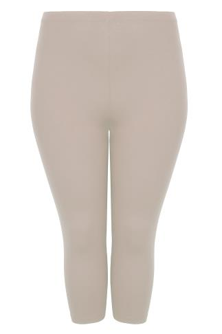 Taupe Brown Cotton Elastane Cropped Leggings