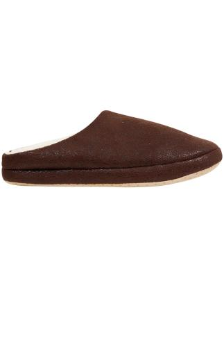 Slippers Brown Distressed Slippers With Cream Fleece Inside 101782