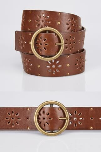 Brown Floral Cut Out Belt With Studs