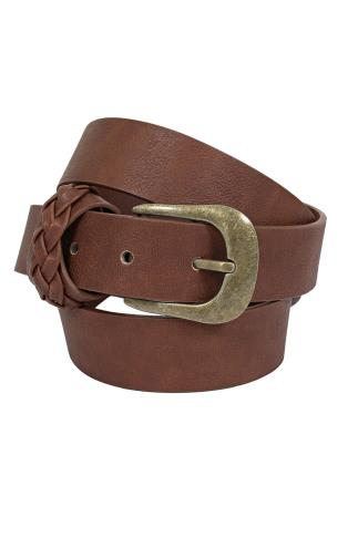 Brown PU Belt With Antique Gold Details