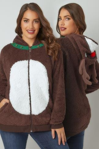 Fleece Brown Reindeer Christmas Novelty Hooded Fleece With Gold Bells 126038