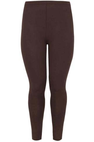 Brown Viscose Elastane Full Length Leggings