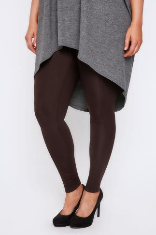 Basic Leggings Brown Viscose Elastane Leggings 102247