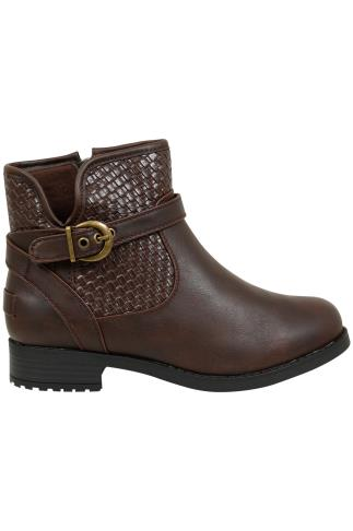 Brown Whipstitch Ankle Boot In EEE Fit 102484