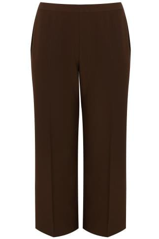 Brown Classic Straight Leg Trousers With Elasticated Waistband