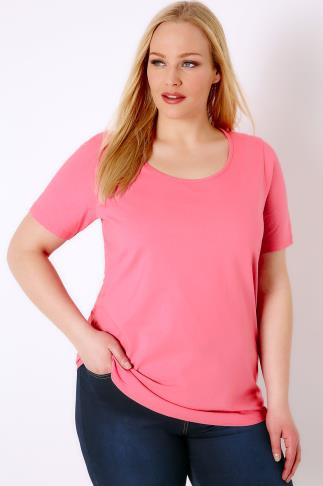 Bubblegum Pink Scoop Neck Basic T-Shirt 132035