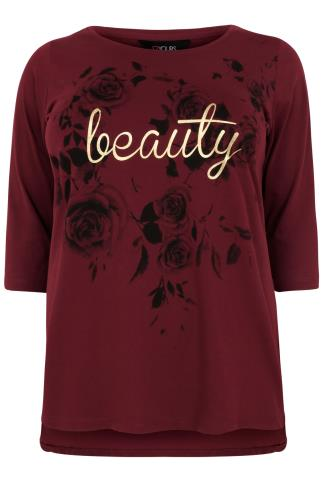 "Burgundy ""Beauty"" Slogan Print T-Shirt With 3/4 Sleeves & Dip Back"