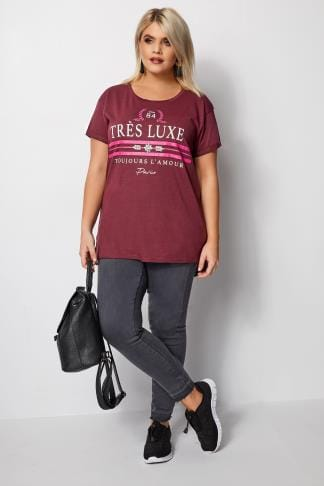 Burgundy Bling Jersey T Shirt Plus Size 16 To 36