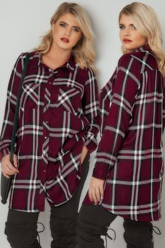 Shirts Burgundy Checked Longline Boyfriend Shirt With Pockets 130209