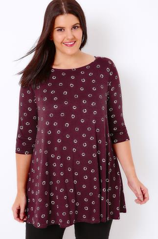 Burgundy Circle Print Top With Envelope Neckline