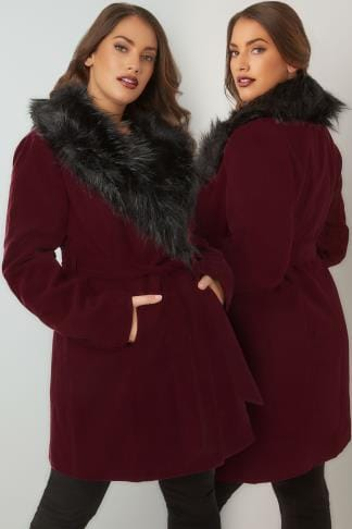 Coats Burgundy Coat With Faux Fur Collar & Tie Waist 120069