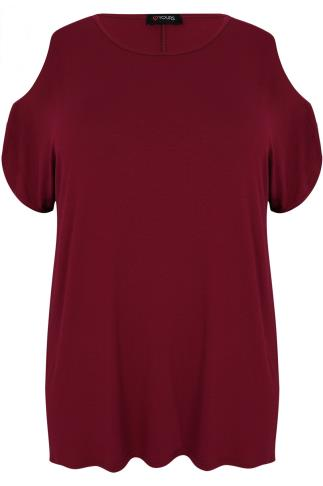 Burgundy Cold Shoulder Jersey Top