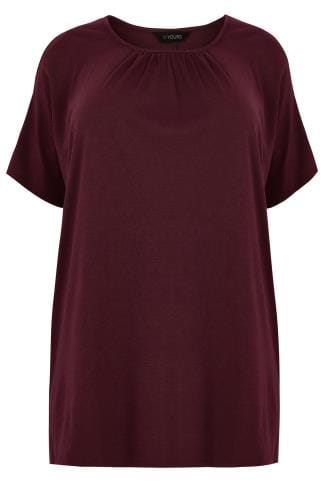 Burgundy Cold Shoulder Top With Ruched Neckline