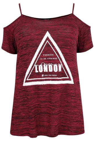 "Burgundy ""London"" Sequin Embellished Top With Cold Shoulder"