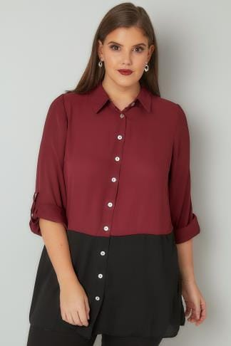 Blouses & Shirts Burgundy Colour Block Chiffon Shirt With 3/4 Length Roll Up Sleeves 130154