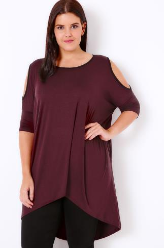 Burgundy Contrast Bind Top With Cold Shoulder Cut Outs & Extreme Dipped Hem