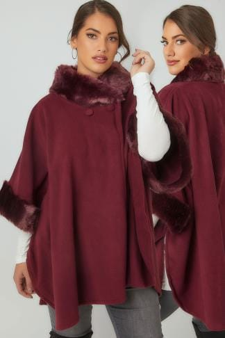 Wraps & Capes Burgundy Fleece Wrap With Faux Fur Trims 120084