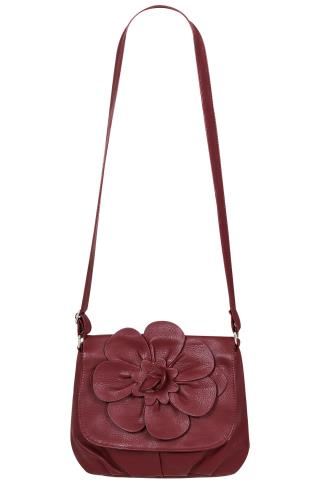 Burgundy Flower Shoulder Bag With Adjustable Strap 152210