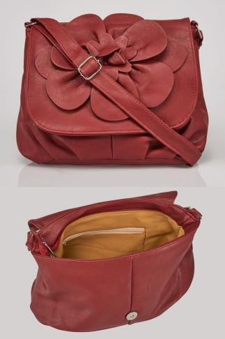 Burgundy Flower Shoulder Bag With Adjustable Strap