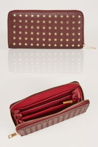 Bags & Purses Burgundy & Gold Star Cut Out Purse 152233