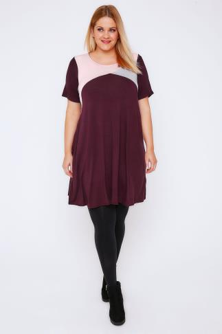 Swing & Shift Dresses Burgundy, Grey & Pink Shimmer Colour Block Tunic Dress 103047