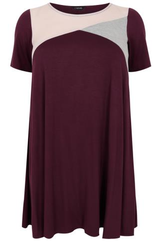 Burgundy, Grey & Pink Shimmer Colour Block Tunic Dress