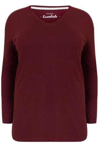 Burgundy Long Sleeve V-Neck Plain T-Shirt