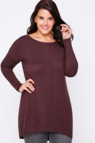 Burgundy Longline Knitted Jumper With Seam Front Detail