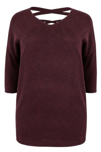 Burgundy Longline Knitted Top With Dipped Hem & Cross Over Straps