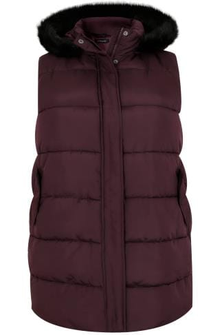 Gilets & Waistcoats Burgundy Longline Padded Gilet With Faux Fur Trim Hood 120040