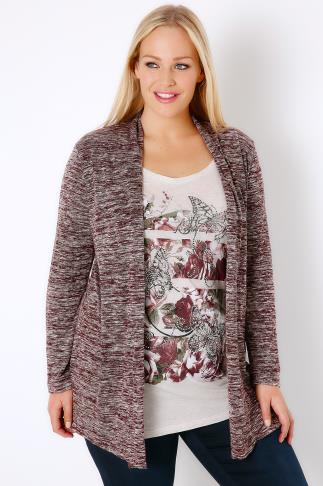 Burgundy & Multi 2 In 1 Cardigan & Embellished Butterfly Print Top 103202
