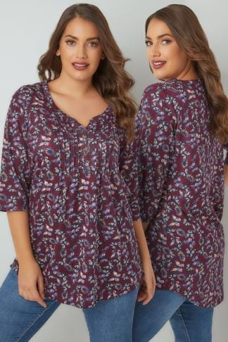Jersey Tops Burgundy & Multi Floral Pin Tuck Jersey Top With 3/4 Sleeves 132348