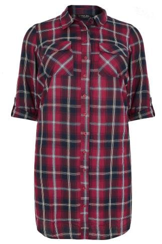 Burgundy & Navy Check Longline Duster Shirt With Pockets & Metallic Detail