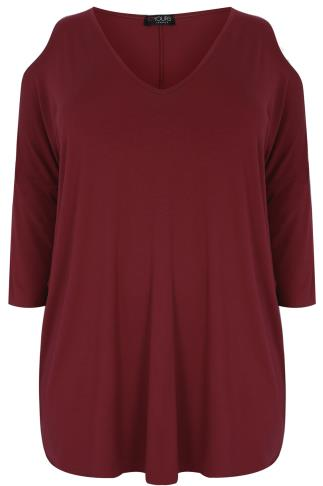 Burgundy Oversized Jersey Top With V-Neck & Cold Shoulder