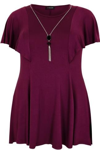 Burgundy Peplum Top With Frill Angel Sleeves With Free Necklace